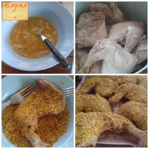 Coat the chicken in breadcrumbs